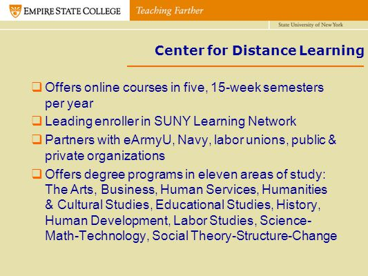 Center for Distance Learning Offers online courses in five, 15-week semesters per year Leading enroller in SUNY Learning Network Partners with eArmyU,