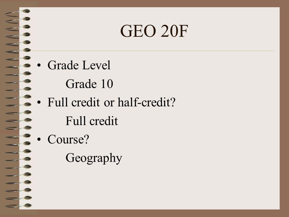 F&N 15G Grade Level? Grade 9 Full credit or half-credit? Half credit Course? Grade 9 Foods and Nutrition