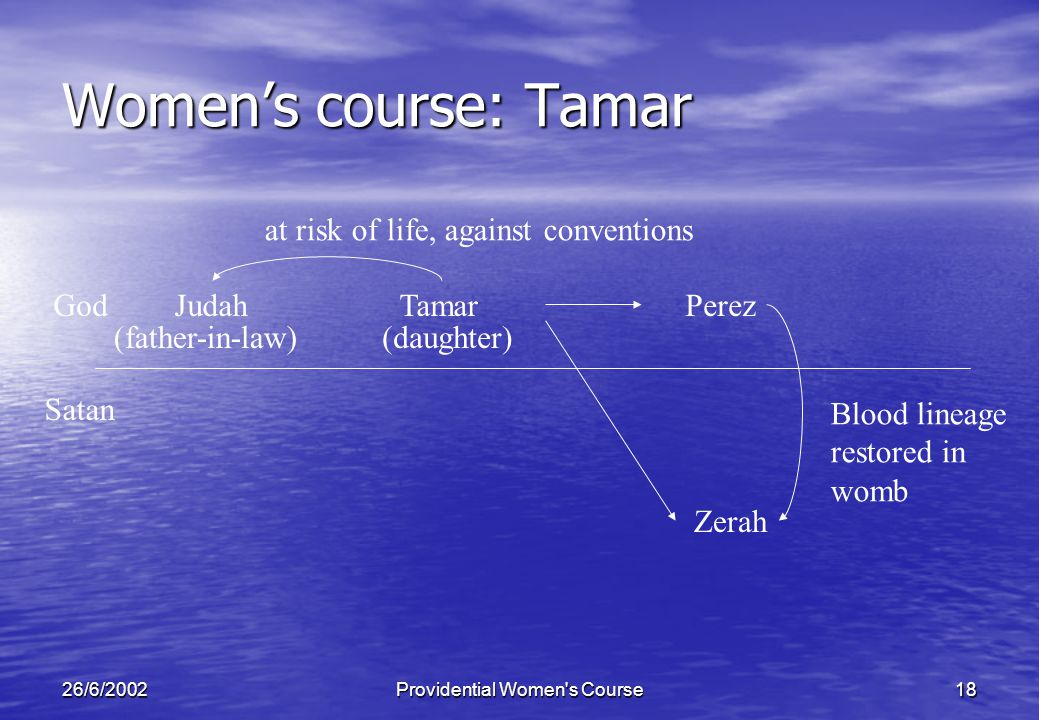 26/6/2002Providential Women s Course18 Womens course: Tamar JudahGod Satan Zerah TamarPerez at risk of life, against conventions Blood lineage restored in womb (father-in-law)(daughter)