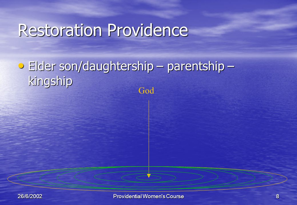 26/6/2002Providential Women s Course8 Restoration Providence Elder son/daughtership – parentship – kingship Elder son/daughtership – parentship – kingship God