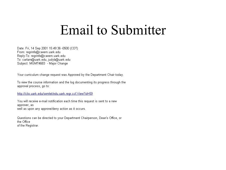 Email to Submitter