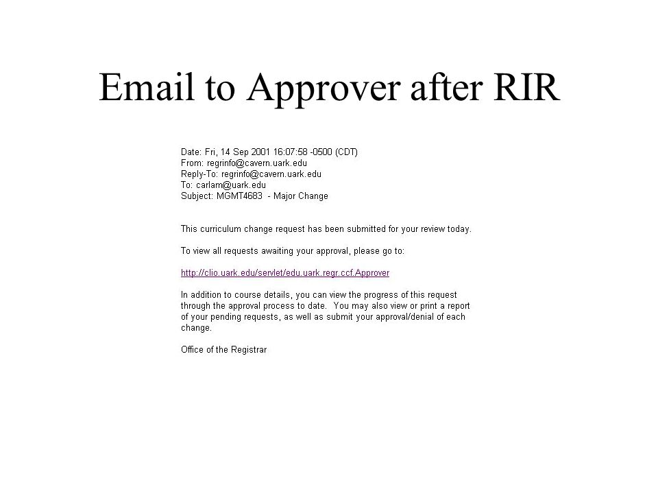 Email to Approver after RIR