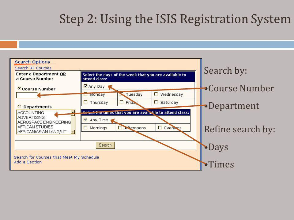 Step 2: Using the ISIS Registration System Search by: Course Number Department Refine search by: Days Times