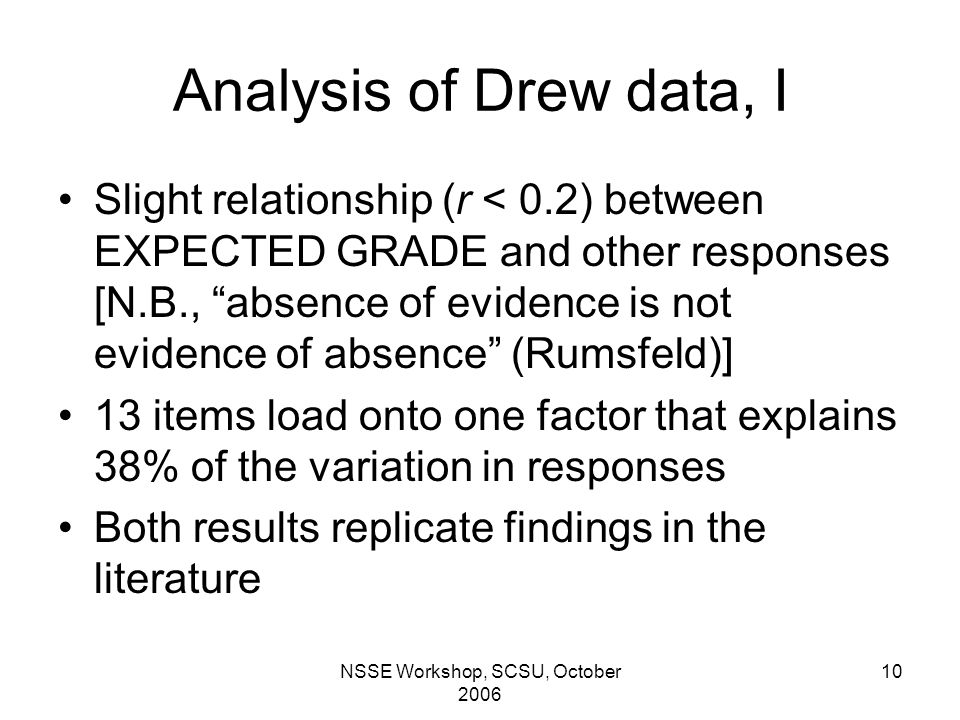 NSSE Workshop, SCSU, October 2006 10 Analysis of Drew data, I Slight relationship (r < 0.2) between EXPECTED GRADE and other responses [N.B., absence of evidence is not evidence of absence (Rumsfeld)] 13 items load onto one factor that explains 38% of the variation in responses Both results replicate findings in the literature