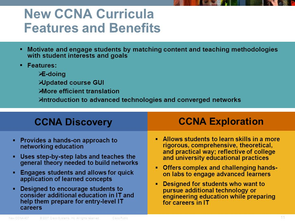 © 2007 Cisco Systems, Inc. All rights reserved.Cisco PublicNew CCNA 407 11 New CCNA Curricula Features and Benefits Motivate and engage students by ma