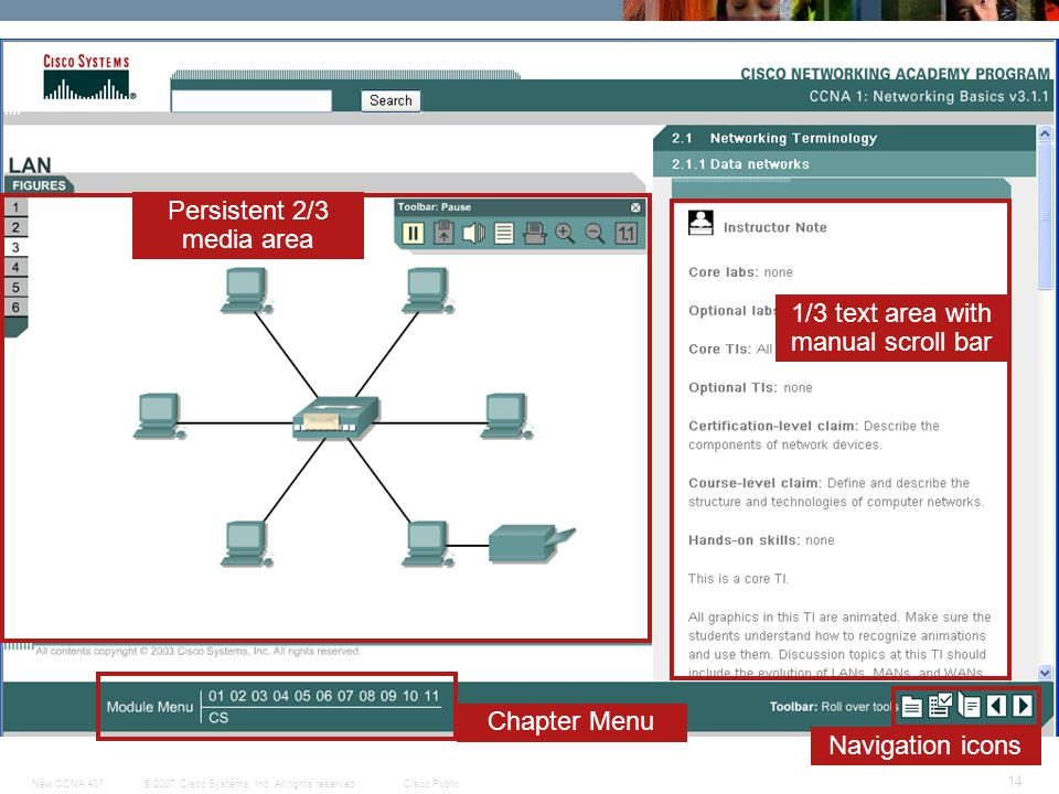 © 2007 Cisco Systems, Inc. All rights reserved.Cisco PublicNew CCNA 407 14 Navigation icons Chapter Menu Persistent 2/3 media area 1/3 text area with