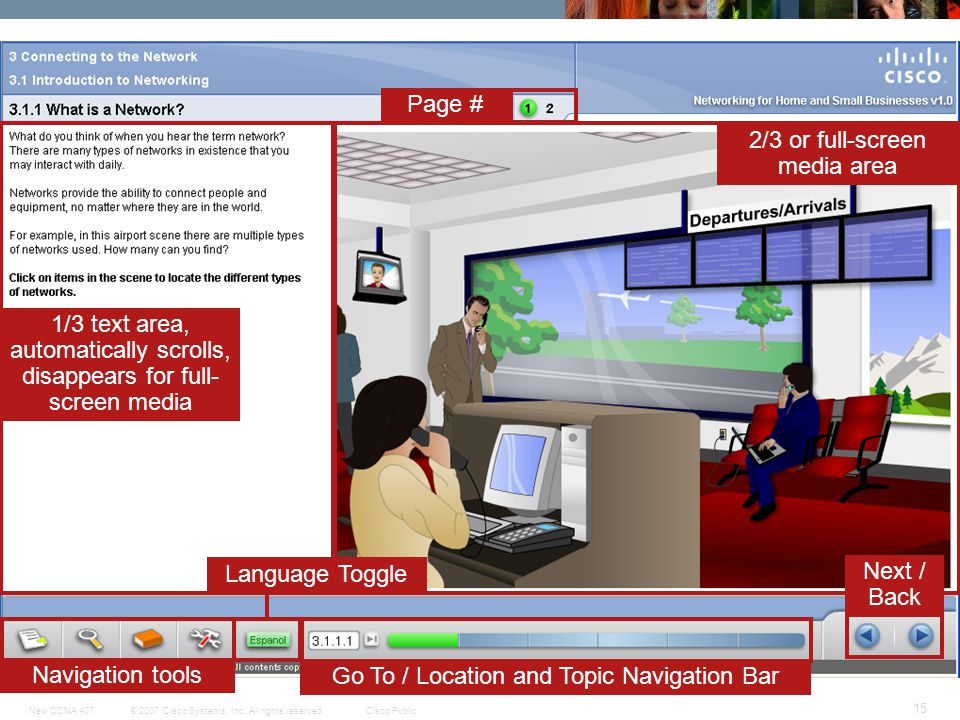 © 2007 Cisco Systems, Inc. All rights reserved.Cisco PublicNew CCNA 407 15 Navigation tools Language Toggle Go To / Location and Topic Navigation Bar