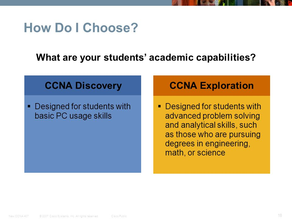 © 2007 Cisco Systems, Inc. All rights reserved.Cisco PublicNew CCNA 407 18 CCNA DiscoveryCCNA Exploration How Do I Choose? Designed for students with