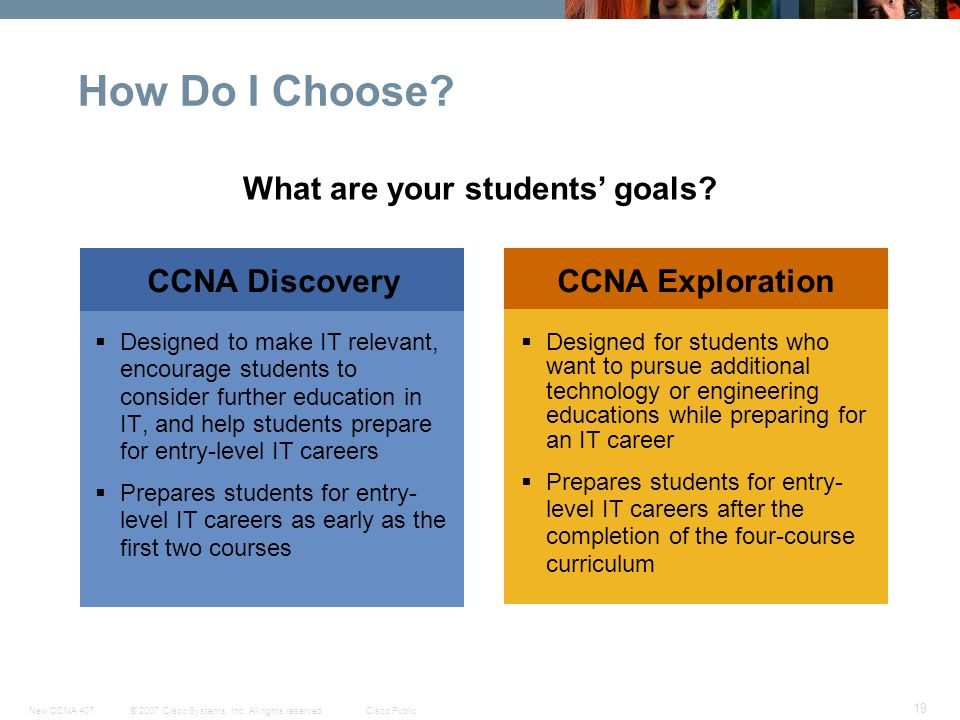 © 2007 Cisco Systems, Inc. All rights reserved.Cisco PublicNew CCNA 407 19 CCNA DiscoveryCCNA Exploration How Do I Choose? Designed for students who w