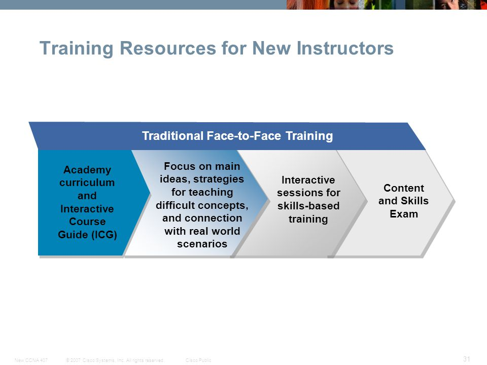 © 2007 Cisco Systems, Inc. All rights reserved.Cisco PublicNew CCNA 407 31 Training Resources for New Instructors Focus on main ideas, strategies for