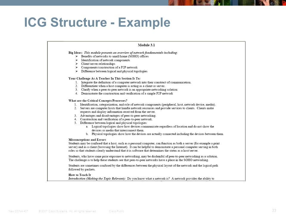 © 2007 Cisco Systems, Inc. All rights reserved.Cisco PublicNew CCNA 407 33 ICG Structure - Example