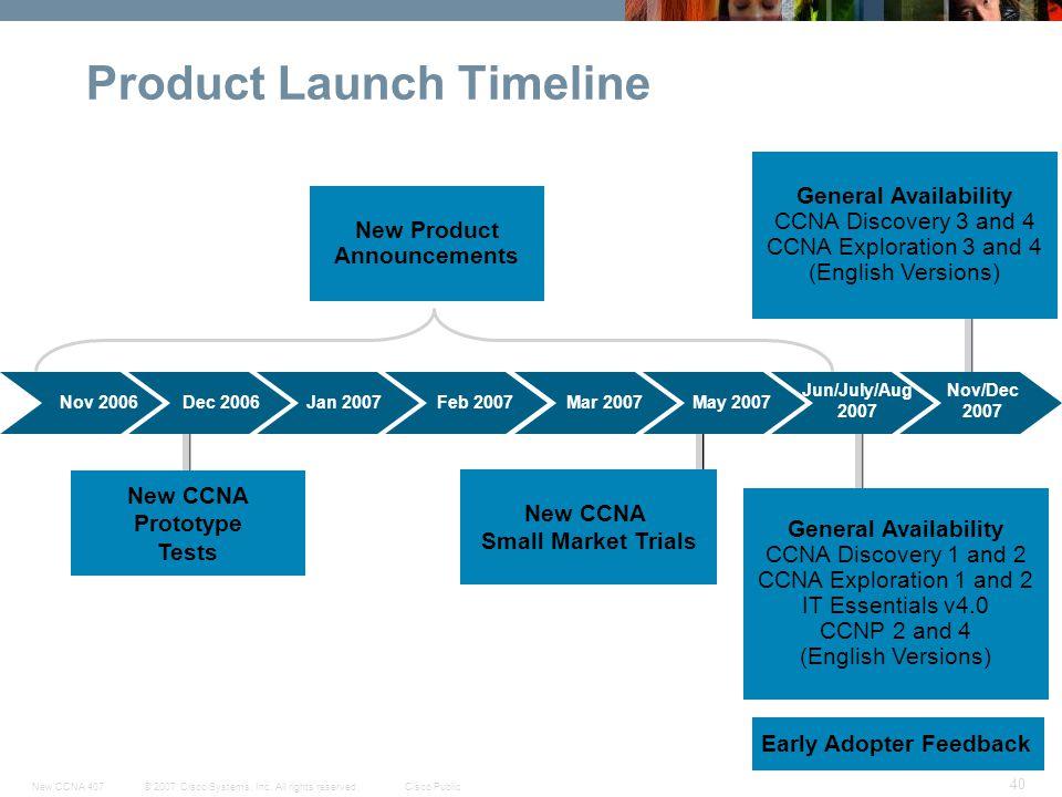 © 2007 Cisco Systems, Inc. All rights reserved.Cisco PublicNew CCNA 407 40 Product Launch Timeline Nov 2006Dec 2006Jan 2007 Nov/Dec 2007 Feb 2007Mar 2