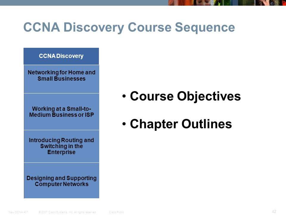 © 2007 Cisco Systems, Inc. All rights reserved.Cisco PublicNew CCNA 407 42 CCNA Discovery Course Sequence Course Objectives Chapter Outlines Designing