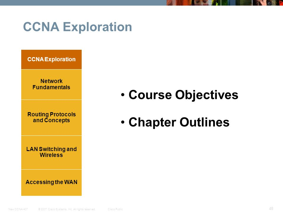 © 2007 Cisco Systems, Inc. All rights reserved.Cisco PublicNew CCNA 407 48 CCNA Exploration Accessing the WAN LAN Switching and Wireless Routing Proto