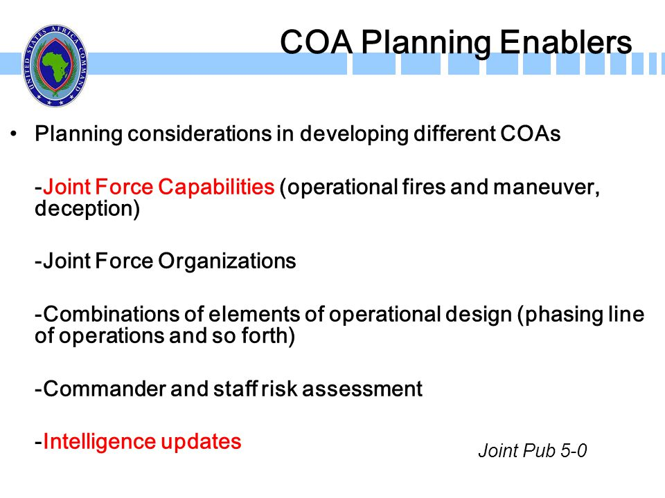 COA Planning Enablers Planning considerations in developing different COAs -Joint Force Capabilities (operational fires and maneuver, deception) -Join