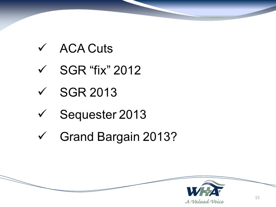 ACA Cuts SGR fix 2012 SGR 2013 Sequester 2013 Grand Bargain 2013 15