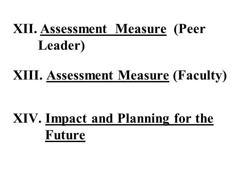 XII. Assessment Measure (Peer Leader) XIII. Assessment Measure (Faculty) XIV.