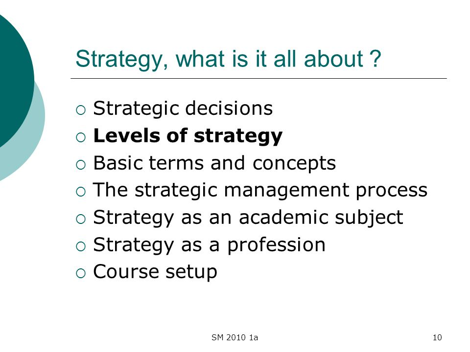 SM 2010 1a10 Strategy, what is it all about ? Strategic decisions Levels of strategy Basic terms and concepts The strategic management process Strateg
