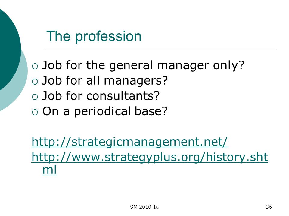 SM 2010 1a36 The profession Job for the general manager only? Job for all managers? Job for consultants? On a periodical base? http://strategicmanagem