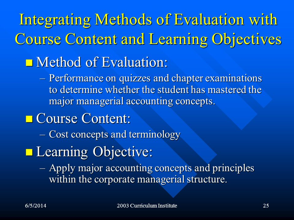 6/5/20142003 Curriculum Institute25 Integrating Methods of Evaluation with Course Content and Learning Objectives Method of Evaluation: Method of Evaluation: –Performance on quizzes and chapter examinations to determine whether the student has mastered the major managerial accounting concepts.