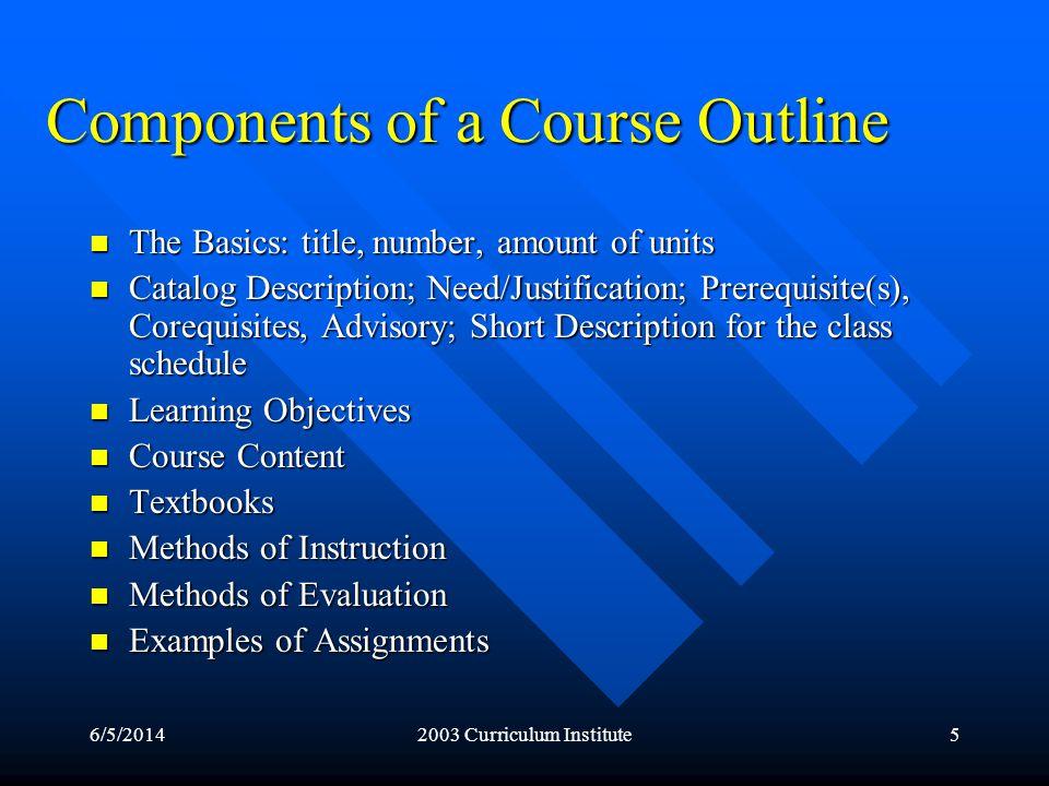 6/5/20142003 Curriculum Institute6 The Basics Title Title Number Number Amount of units Amount of units