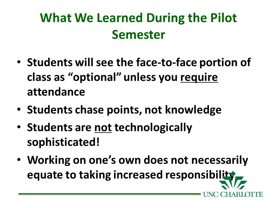 What We Learned During the Pilot Semester Students will see the face-to-face portion of class as optional unless you require attendance Students chase points, not knowledge Students are not technologically sophisticated.