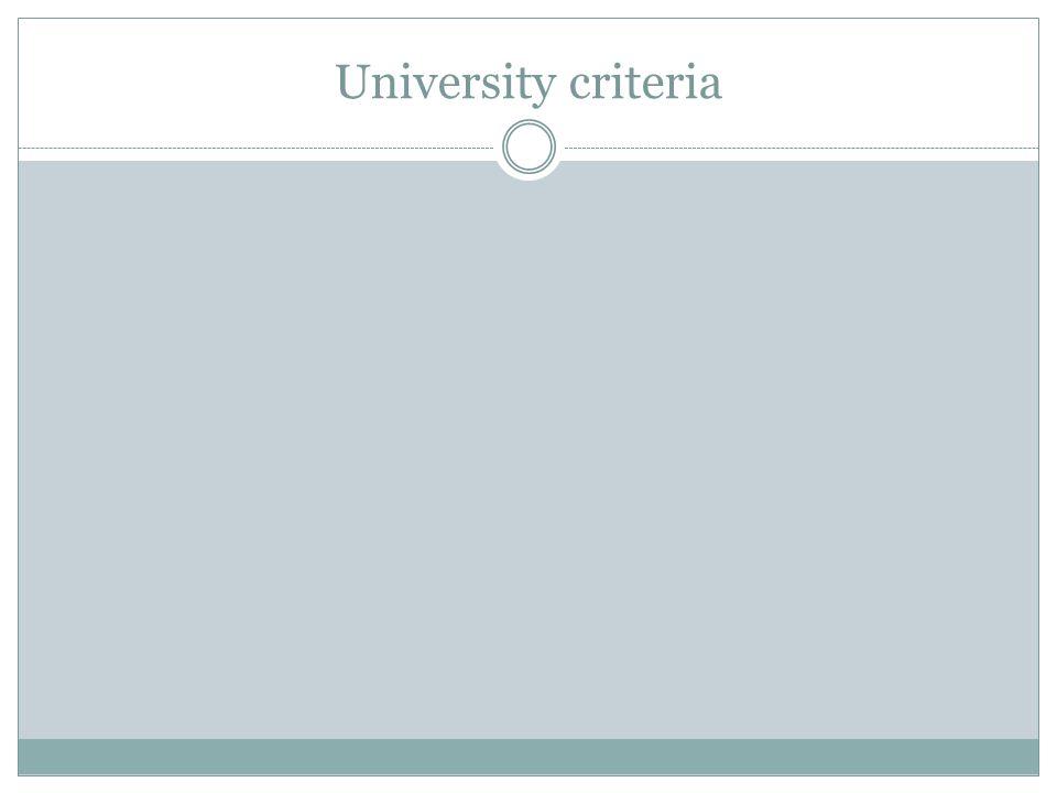 University criteria