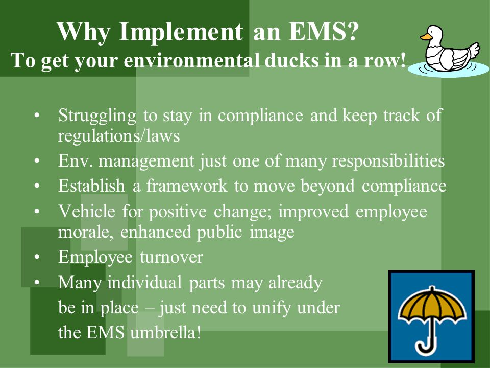 Why Implement an EMS.To get your environmental ducks in a row.