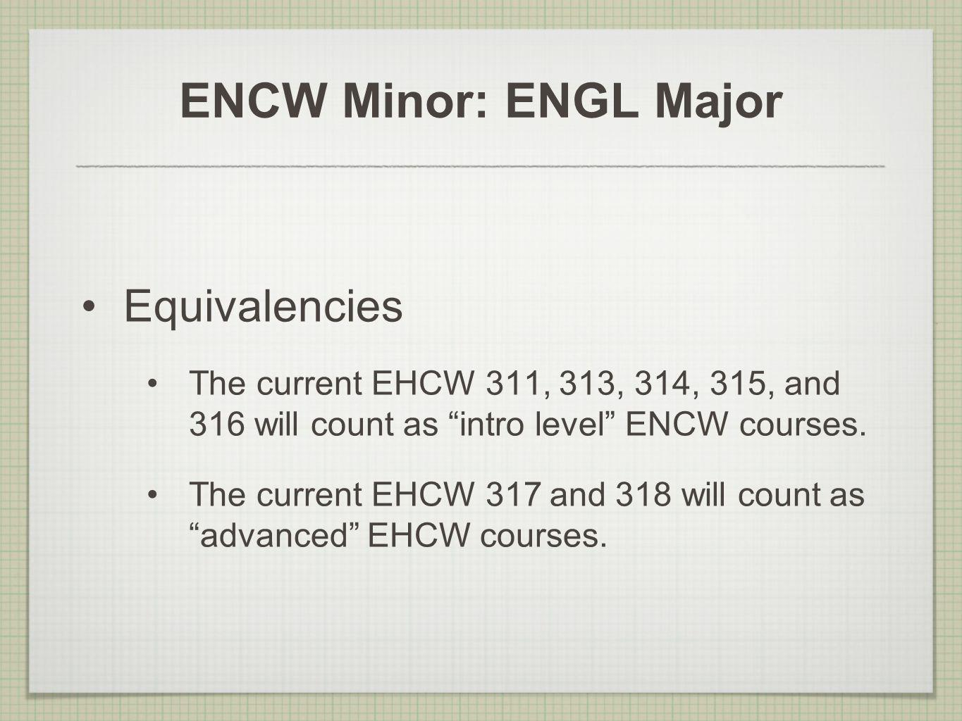 ENCW Minor: ENGL Major Equivalencies The current EHCW 311, 313, 314, 315, and 316 will count as intro level ENCW courses. The current EHCW 317 and 318