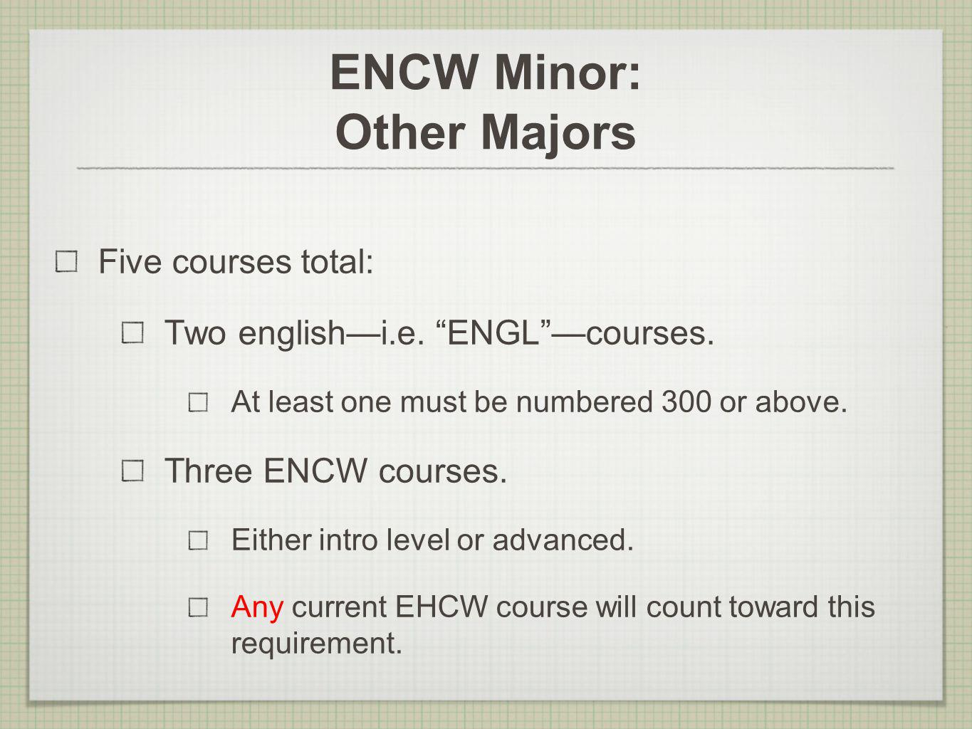 ENCW Minor: Other Majors Five courses total: Two englishi.e. ENGLcourses. At least one must be numbered 300 or above. Three ENCW courses. Either intro