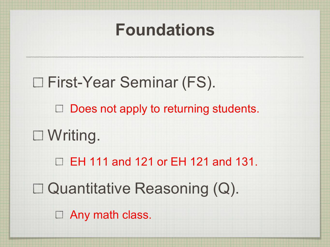 Foundations First-Year Seminar (FS). Does not apply to returning students.