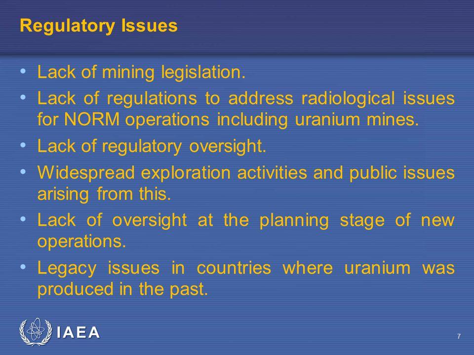 IAEA Regulatory Issues Lack of mining legislation.