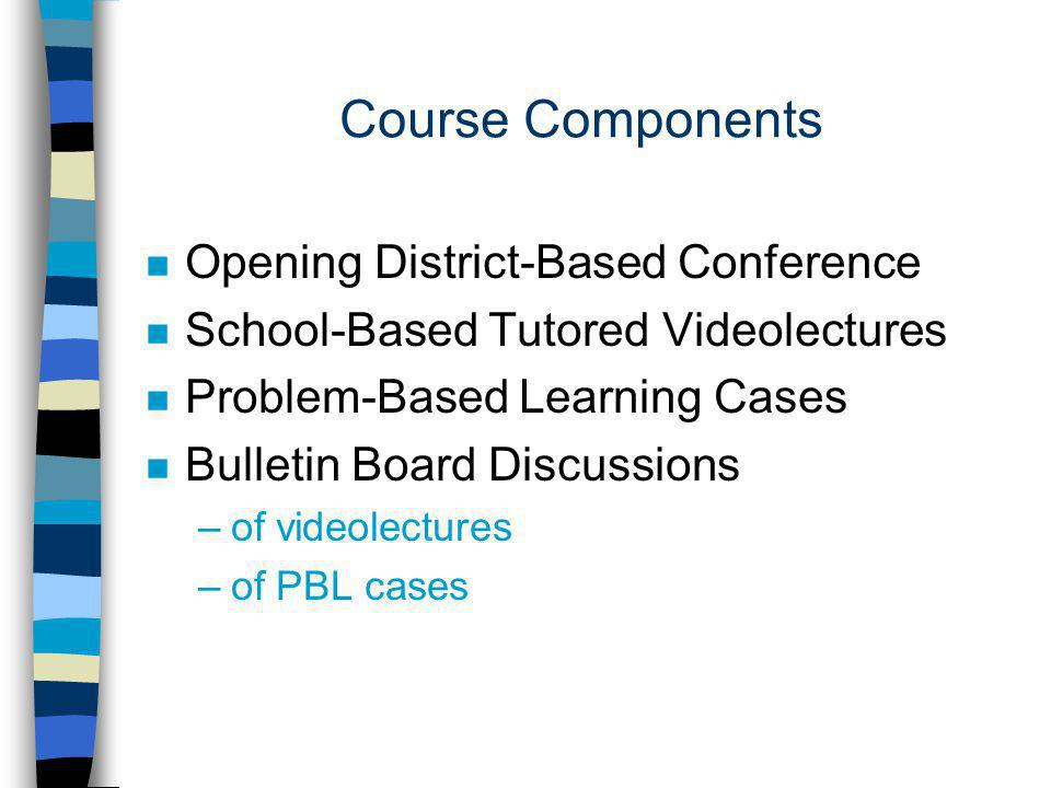 Course Components n Opening District-Based Conference n School-Based Tutored Videolectures n Problem-Based Learning Cases n Bulletin Board Discussions –of videolectures –of PBL cases