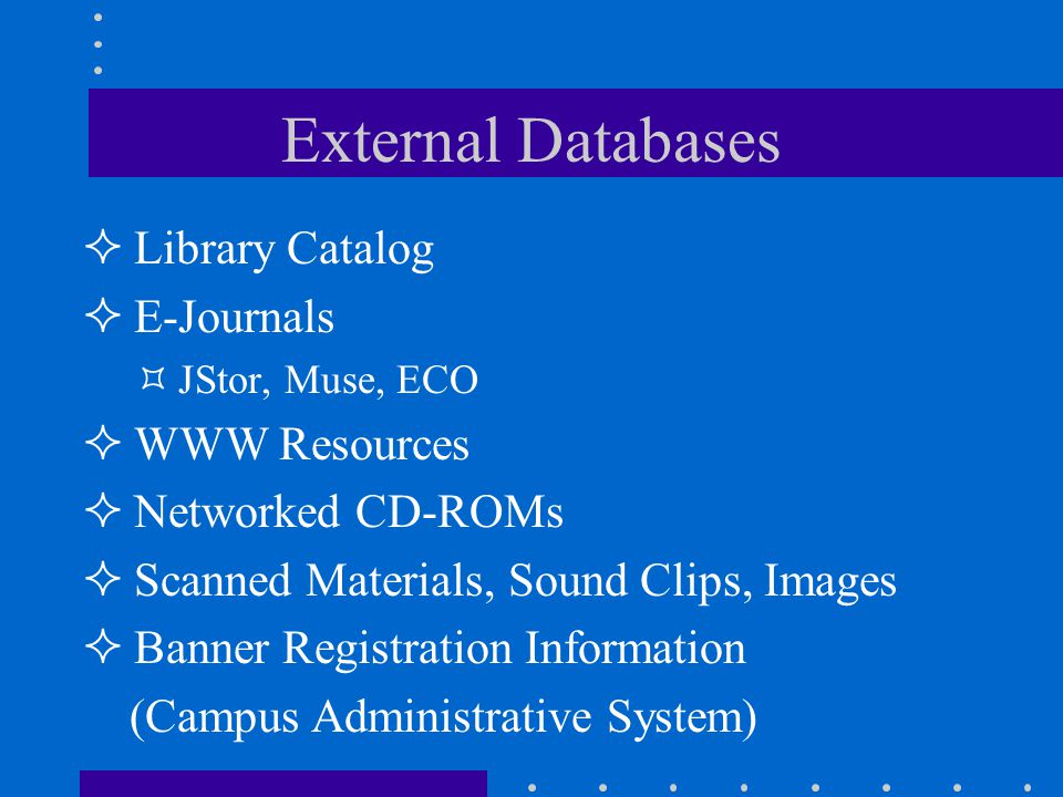 External Databases Library Catalog E-Journals JStor, Muse, ECO WWW Resources Networked CD-ROMs Scanned Materials, Sound Clips, Images Banner Registration Information (Campus Administrative System)