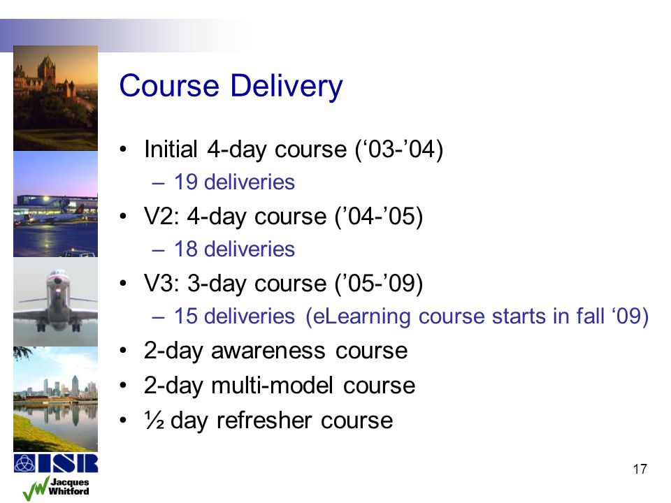 Course Delivery Initial 4-day course (03-04) –19 deliveries V2: 4-day course (04-05) –18 deliveries V3: 3-day course (05-09) –15 deliveries (eLearning