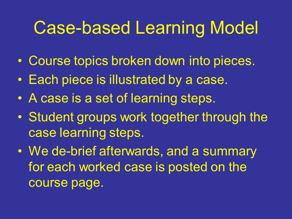 Case-based Learning Model Course topics broken down into pieces.