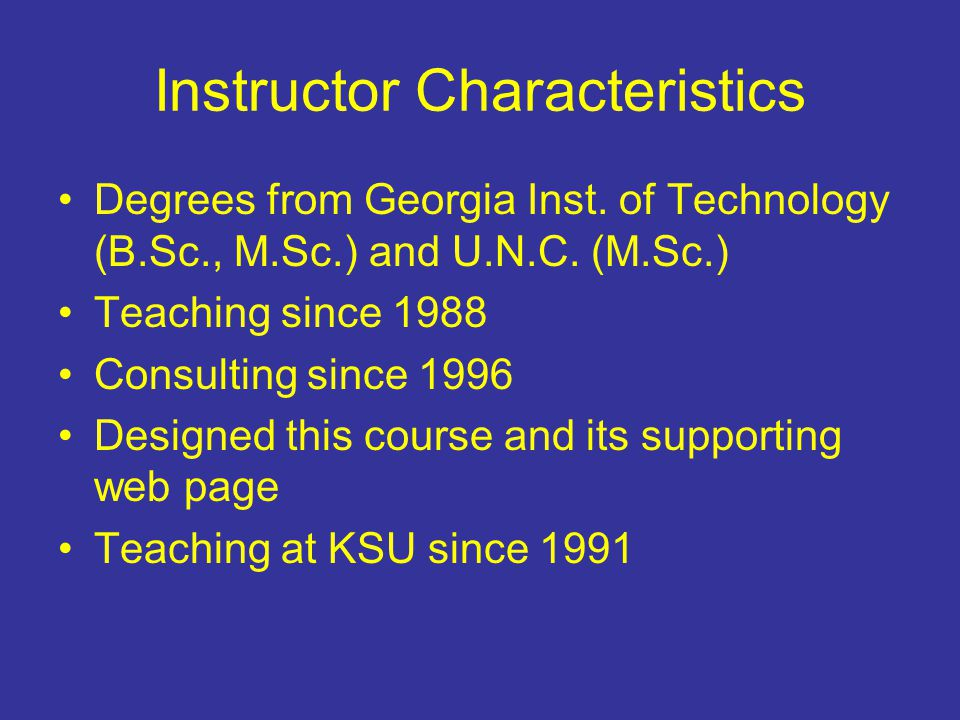 Instructor Characteristics Degrees from Georgia Inst.