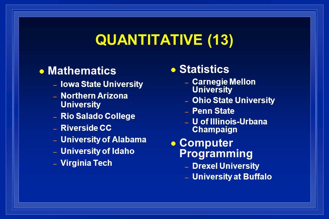 QUANTITATIVE (13) Mathematics – Iowa State University – Northern Arizona University – Rio Salado College – Riverside CC – University of Alabama – Univ