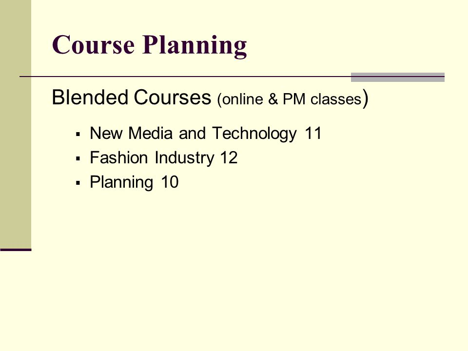Course Planning Blended Courses (online & PM classes ) New Media and Technology 11 Fashion Industry 12 Planning 10