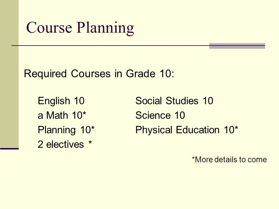 Course Planning Required Courses in Grade 10: English 10Social Studies 10 a Math 10*Science 10 Planning 10*Physical Education 10* 2 electives * *More details to come