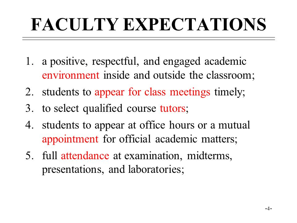 -4- FACULTY EXPECTATIONS 1.a positive, respectful, and engaged academic environment inside and outside the classroom; 2.students to appear for class m