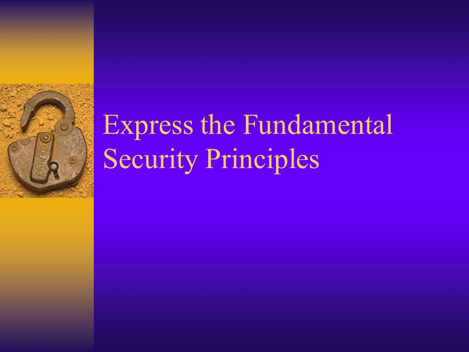Express the Fundamental Security Principles