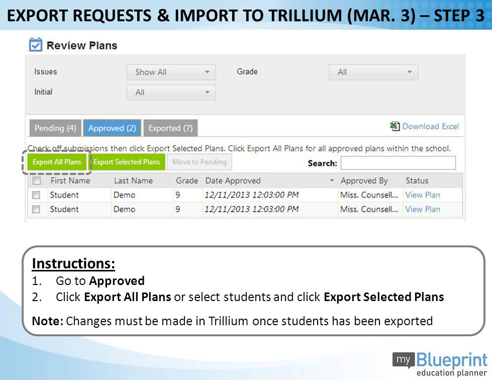 Instructions: 1.Go to Approved 2.Click Export All Plans or select students and click Export Selected Plans Note: Changes must be made in Trillium once students has been exported EXPORT REQUESTS & IMPORT TO TRILLIUM (MAR.