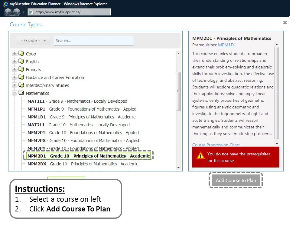 Instructions: 1.Select a course on left 2.Click Add Course To Plan