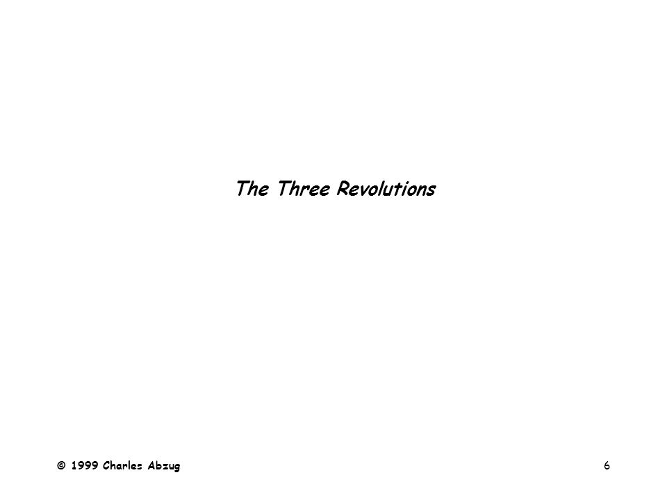© 1999 Charles Abzug6 The Three Revolutions