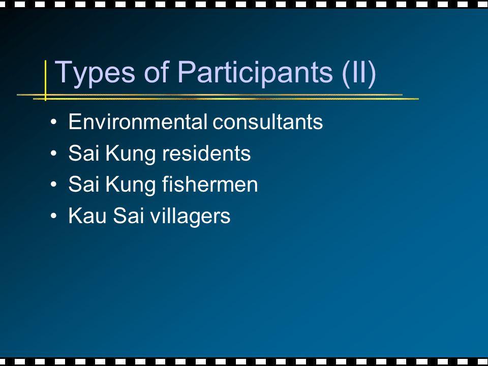 Types of Participants (II) Environmental consultants Sai Kung residents Sai Kung fishermen Kau Sai villagers
