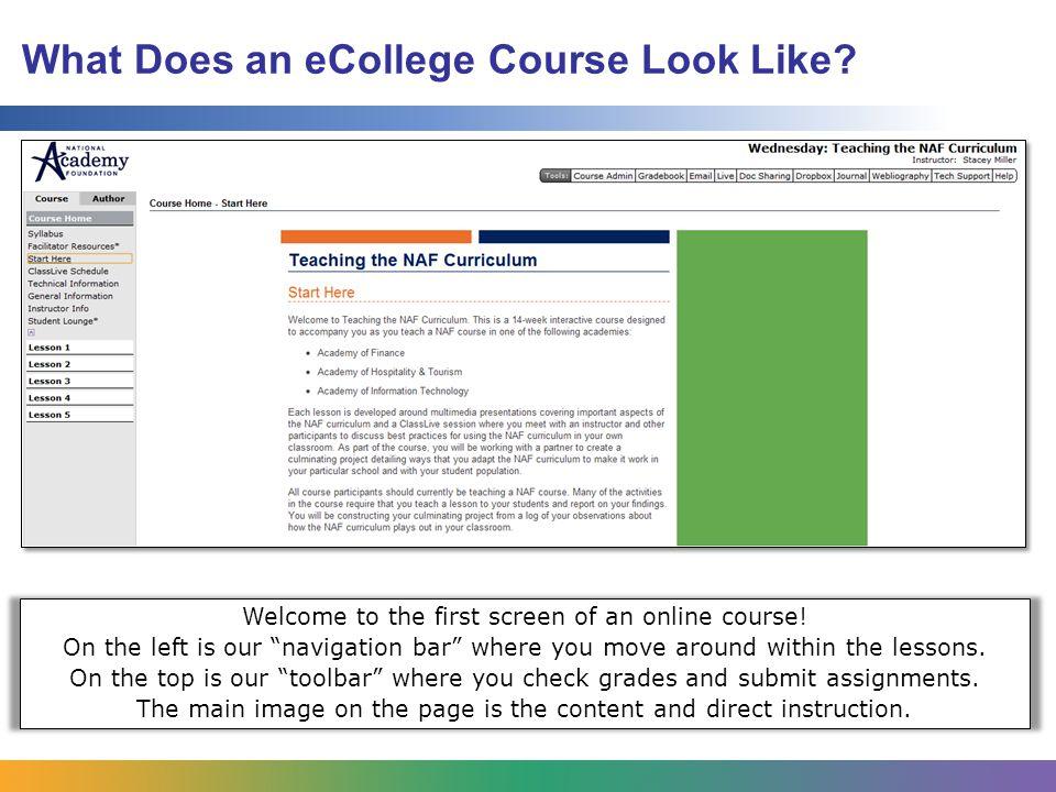 What Does an eCollege Course Look Like. Welcome to the first screen of an online course.