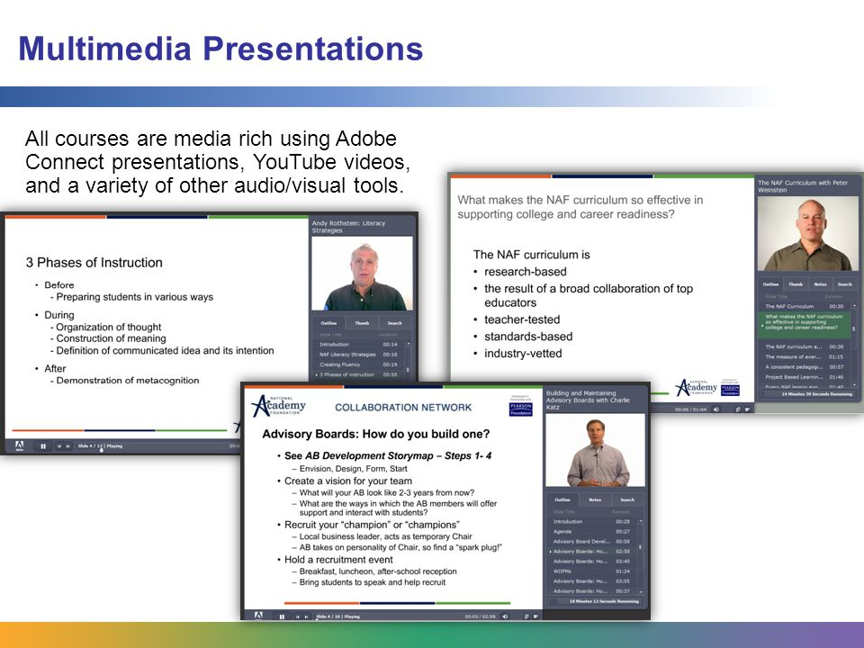 Multimedia Presentations All courses are media rich using Adobe Connect presentations, YouTube videos, and a variety of other audio/visual tools.