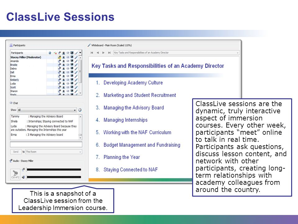ClassLive Sessions ClassLive sessions are the dynamic, truly interactive aspect of immersion courses.