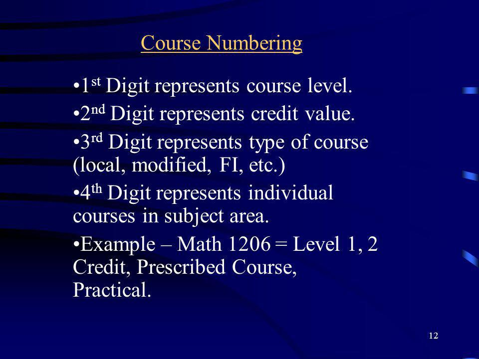 12 Course Numbering 1 st Digit represents course level. 2 nd Digit represents credit value. 3 rd Digit represents type of course (local, modified, FI,